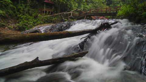 Waterfall at Bukit Hijau, Kedah with bridge Live Action
