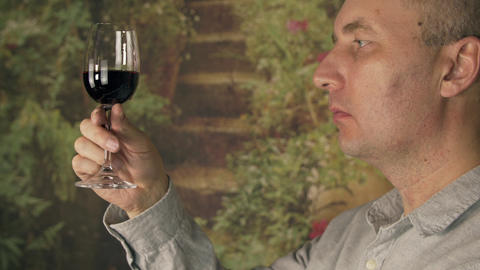 Man sommelier tasting red wine from glass close up. Man drinking red wine Footage