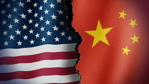 Torn United States China Flag Loop CG動画素材