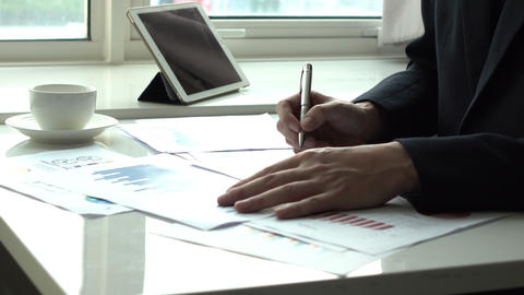 Business man working with paper work in the office Footage