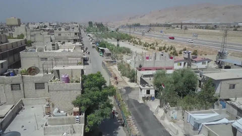 Syria, Eastern Guta. aerial photography on the streets of the city Footage