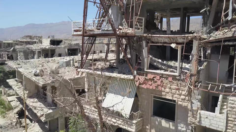 Syria, Eastern Guta. aerial photography of destroyed houses Footage