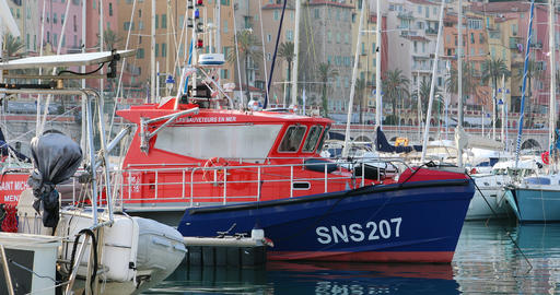 French Blue And Orange Boat Rescuers At Sea Moored on The Harbor ビデオ