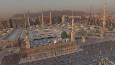 Saudi Arabia- Muslim Mosque of Mecca (aerial photography) Footage