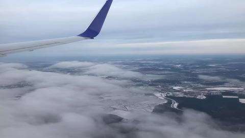 Above The Cloud Through The Airplane Window Footage