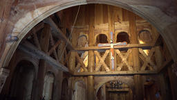 Norway Bergen interior view of Fantoft old stave church with nice woodcarvings Footage