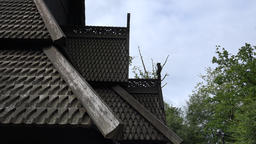 Norway City Of Bergen roof closeup of the Fantoft stave church Footage