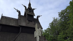 Norway City Of Bergen nice Nordic ornaments on Fantoft stave church Footage