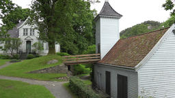 Norway Gamle Bergen hill with white workshop house and turret Footage