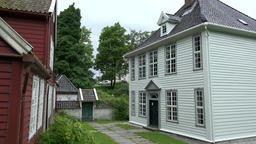 Norway Gamle Bergen old Norwegian wooden school red and white building Footage