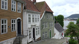 Norway Gamle Bergen houses of old village at steep road Footage