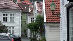Norway City Of Bergen white wooden houses in Skuteviken district Footage