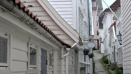 Norway City Of Bergen white Scandinavian house with roof edge and gutter Footage