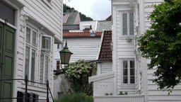 Norway City Of Bergen small cozy alley with white Scandinavian houses Footage
