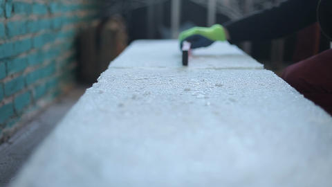 Shavings of ice, ice leveling, sculpture from ice Live Action