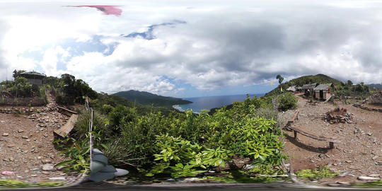 360VR video at Nagtabon beach seen from mountain, Palawan, Philippines Footage
