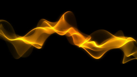 Smooth Fiery Yellow and Orange Abstract Waves on Black Background Animation