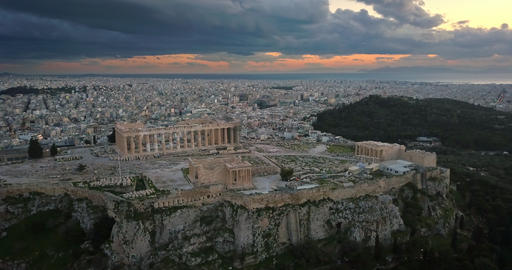 Aerial view of Acropolis of Athens at sunset Footage