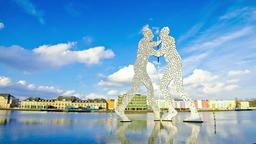 Molecule Man sculpture on Spree River in Berlin, Germany Footage