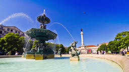 Baroque fountain on Rossio square in Lisbon, Portugal Footage