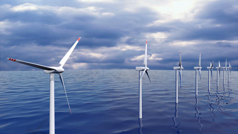 Wind generators farm in ocean seamless loop Animation