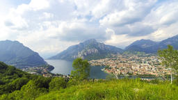 Panoramic aerial view of Lake Como and Lecco city, Italy ビデオ