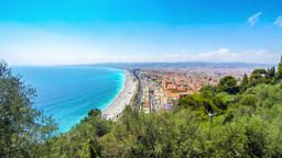 Aerial view of beach in City of Nice, French riviera, France Footage
