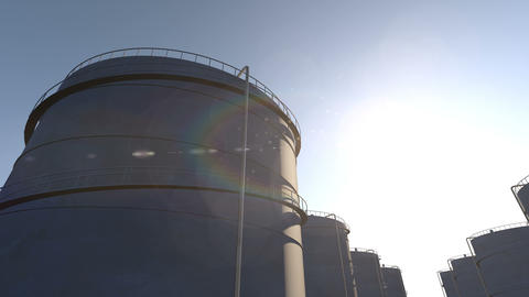 Oil storage tanks time lapse Animation