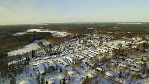 Aerial shot of residential area with small houses in Finland ビデオ