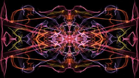 Live red and orange fractal mandala, video tunnel on black background. Animated Animation