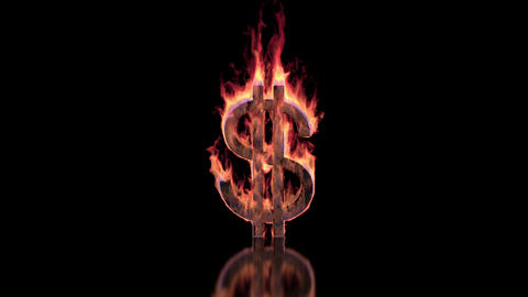 Dollar sign burning in flames on the glossy surface, financial illustration Animation
