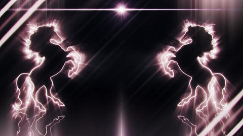 White Neon Rearing Horse Intro Logo Animated Background Loopable Animación