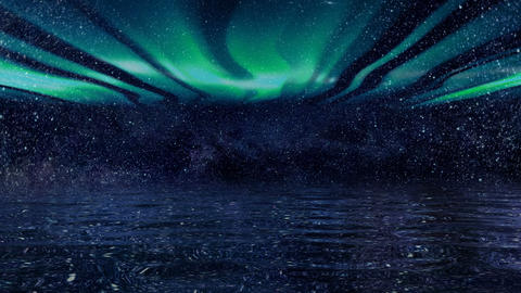 Background of a futuristic night sky vs borealis Animation