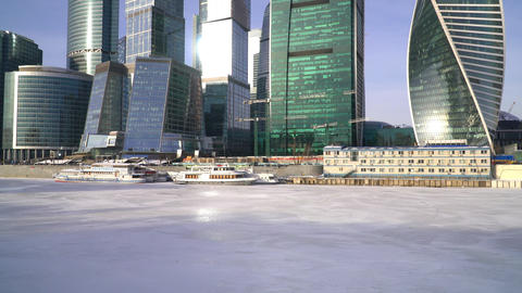 January 25, 2018. Russia. Moscow. Morning. Moscow city business Center on the ビデオ