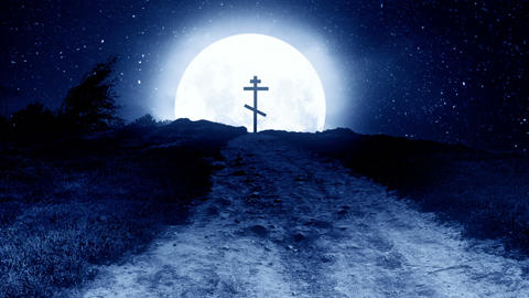 Orthodox cross on a hill at night with the moon in the background Animation