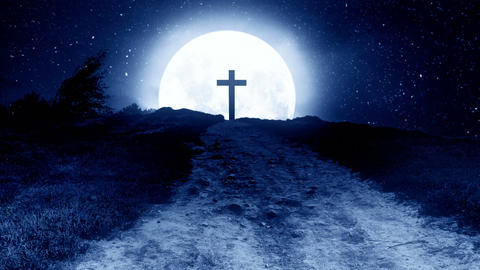 Catholic cross on a hill at night with the moon in the background Animation