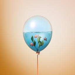 Minimal balloon concept with small gold fishes swimming inside Fotografía