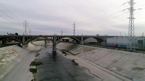 LA River and Bridge with cars Image