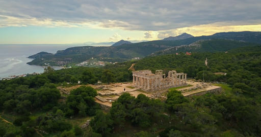 Aerial view of ancient temple of Afea Aphaia on Aegina island, Greece Footage