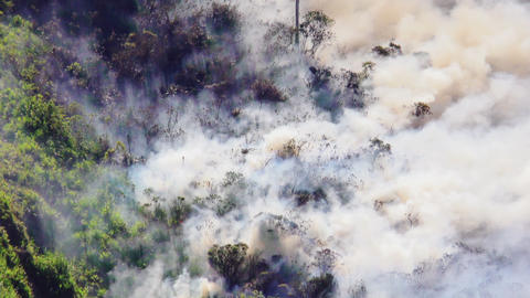 Rising Smoke From A Forest Fire On A Mountain In Banos Ecuador Footage