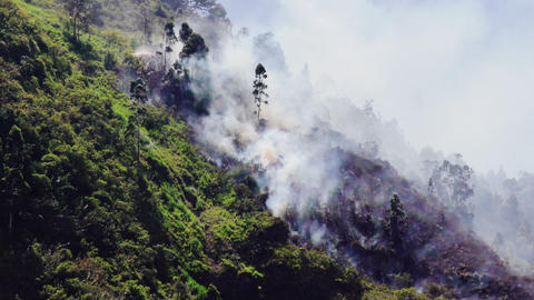 Rising Forest Fire In The Mountain Of Banos Ecuador Footage