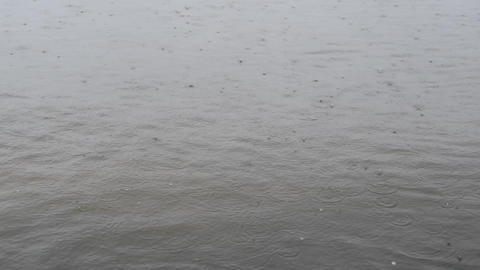 Rain drops fall on water surface Footage