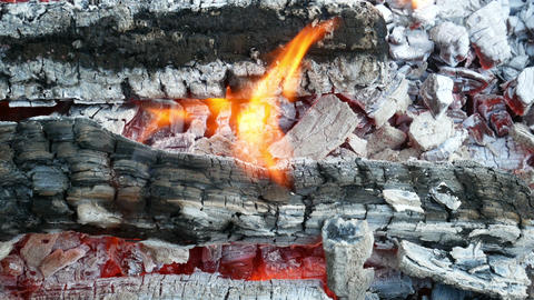 Firewood with hot red charcoals Footage