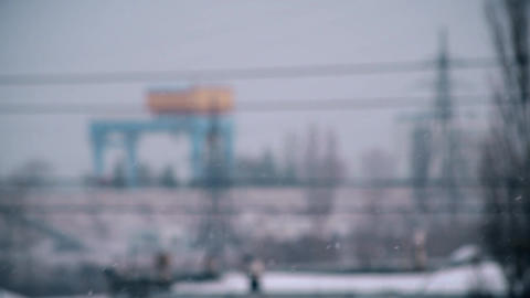 Urban landscape with heavy snow falling in city Footage