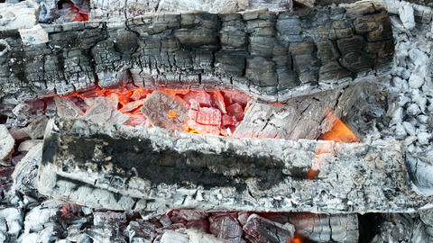 Firewood with sparks and red hot charcoals Footage
