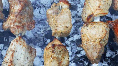 Shish kebab on metal skewers close-up Footage
