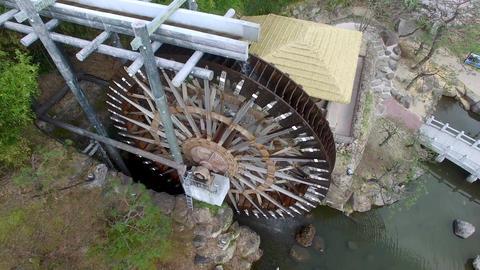 Big Korean Style Watermill of Bomun Park at Gyeongju 07 Footage