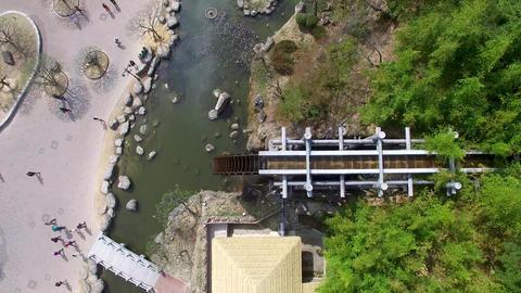 Big Korean Style Watermill of Bomun Park at Gyeongju 02 Footage