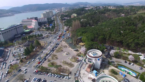 Big Korean Style Watermill of Bomun Park at Gyeongju 03 Footage
