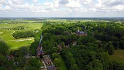 Aerial view of the historic De Haar castle near Utrecht, Netherlands Footage
